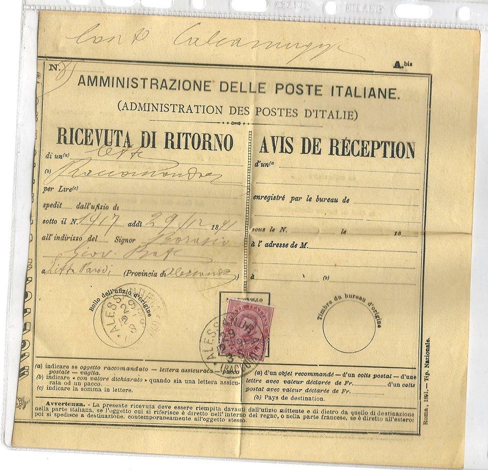 1891 - ALESSANDRIA RICEVUTA DI RITORNO.