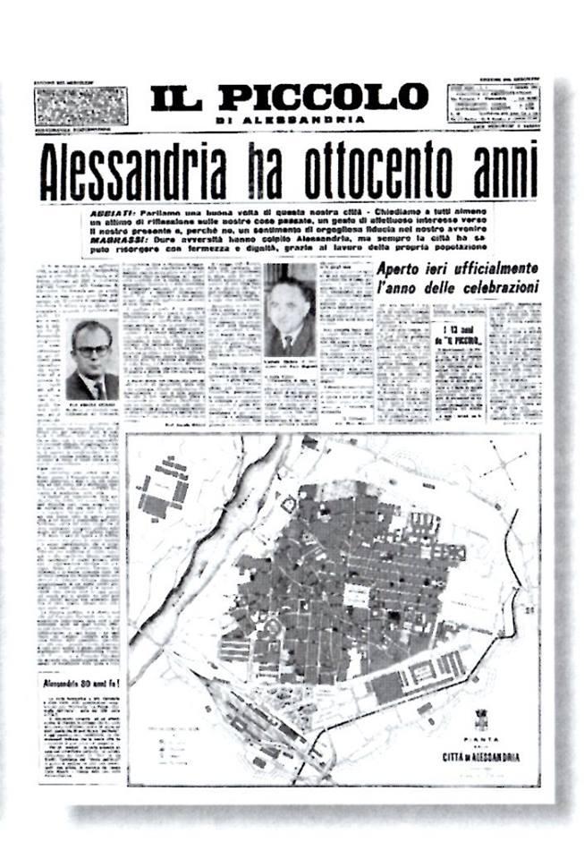 """Una pagina de """"Il Piccolo"""" degli anni Sessanta dove erano descritte le celebrazioni per gli ottocento anni di Alessandria."""