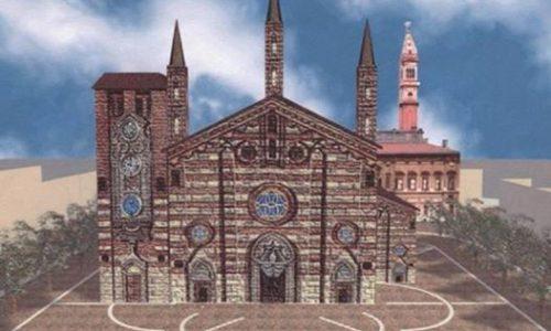 Ricostruzione digitale del vecchio Duomo in Piazza della Libertà, abbattuto da Napoleone Bonaparte