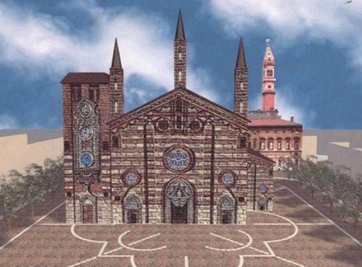 è una ricostruzione di come sarebbe la piazza attuale con il vecchio duomo ancora in piedi e l'altro dietro.. quello attuale è stato costruito dopo ma sul suo sito c'era già una chiesa che è stata ingrandita e ampliata nel tempo fino a trasformarla nel duomo di oggi... curiosità, nell'800 e primi anni del 900 il campanile era senza punta !