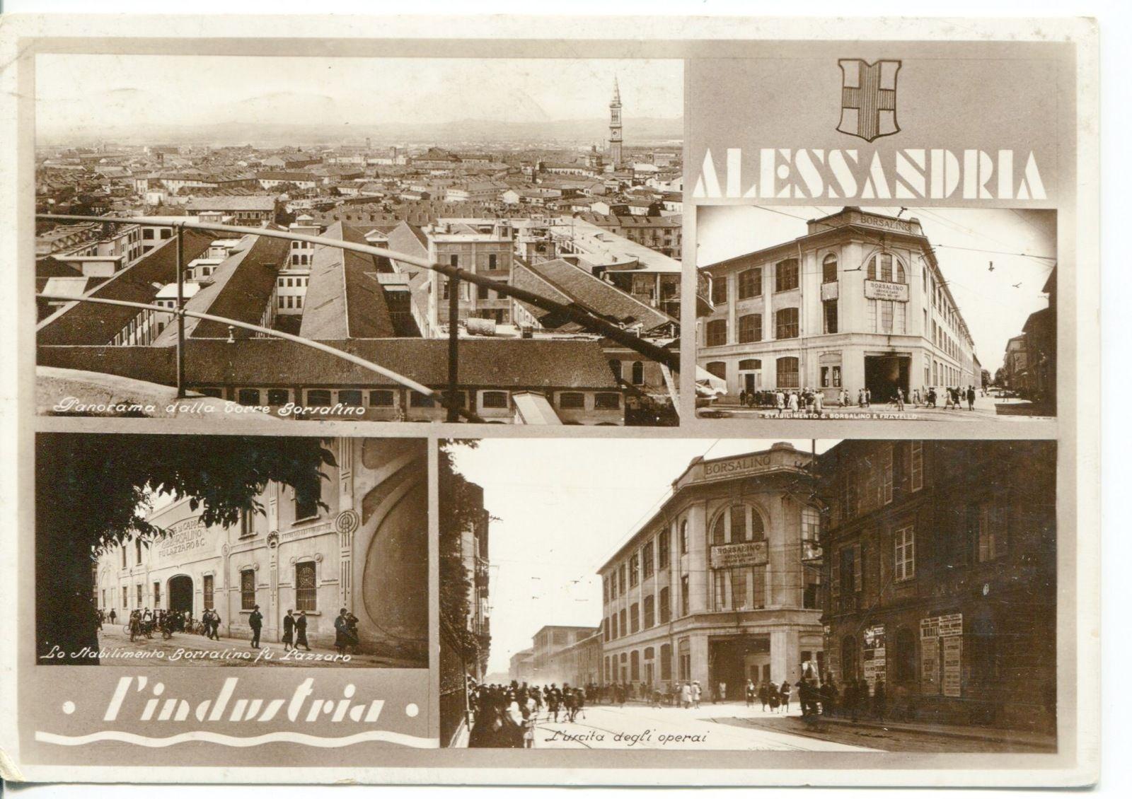 Cartolina Alessandria industria Borsalino cappelli viagg 1935