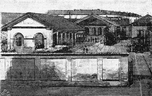 Disegno al tratto dello scalo Tram a vapore in corso Crimea; cartolina fotografica dove a sinistra si vede la stessa stazione.