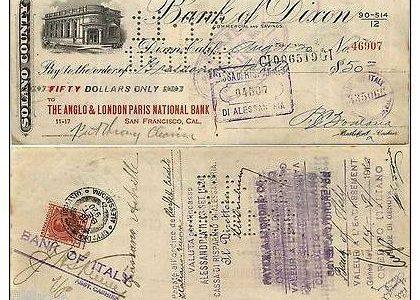 Assegno Americano 50$ incassato in Alessandria il 13.9.1920 con Marca da bollo 20c.