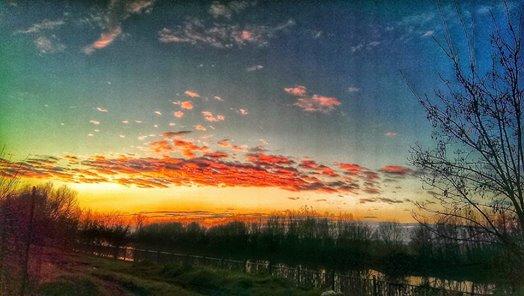 Lungo Tanaro al tramonto (foto Massimo Mussi - 2014)