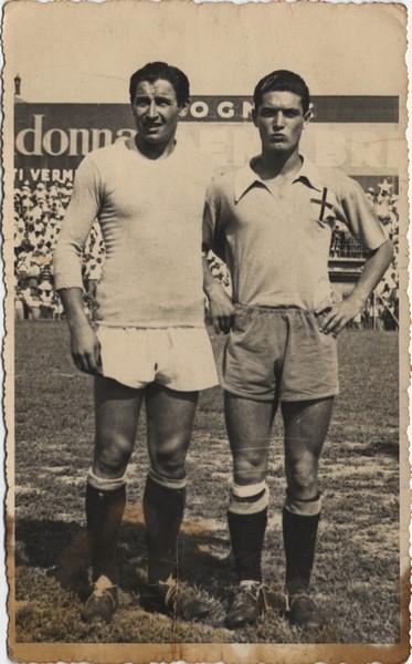 Ginetto Armano (a sinistra) e l'ex Luigi Cassano ora con la maglia della Lazio.