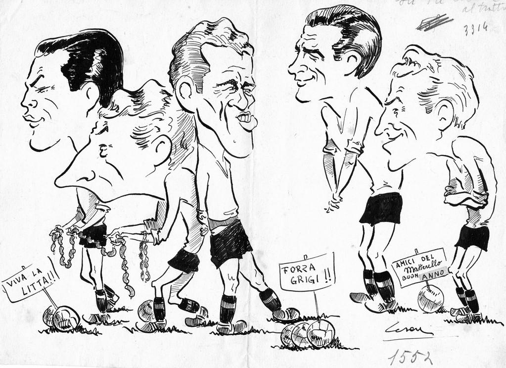 Quintetto d'attacco grigio del 1946 -'47: Armano, Pietruzzi, Lushta, Coscia e Rosso. L'autore è Cesare Bruno.