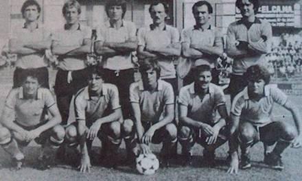 L'Alessandria 1980-'81, promossa in C1. In piedi, da sinistra: Burroni, Piccotti, Soncini, Calisti, Colombo, Zanier. Accosciati: Gaudenzi, Piazza, Zerbio, Poli e Colusso.