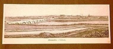 Incisione del 1891 Raro panorama di Alessandria