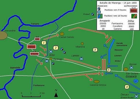 Mappa della battaglia con l'indicazione del percorso del Fontanone.