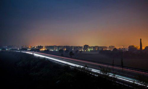 Una sera di Ottobre, la tangenziale in direzione Valenza, e la città. Placida