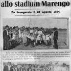 Cerimonia di inaugurazione del campo di gioco della Stadium Marengo, sotto la squadra degli Orti che, battendo il San Michele vinse la gara inaugurale.