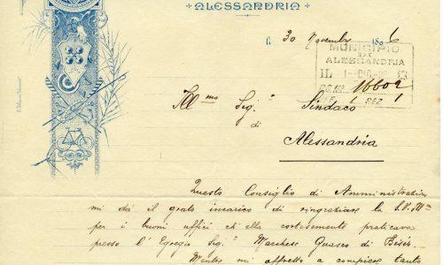 Magnifiche immmagini di carta da lettera intestata.  La prima è quella dell'Unione Pro Sport, la seconda rappresenta la grafica ufficiale dell'Alessandria U.S nel 1920.