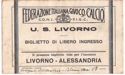 Vecchi biglietti partita Livorno-Alessandria