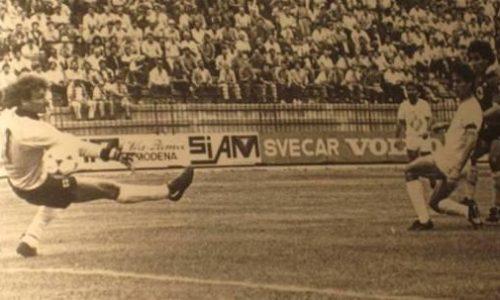 16 giugno 1985, spareggio a Modena contro il Prato. Ciccio Marescalco porta in vantaggio i Grigi