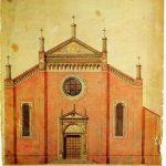 prospetto della facciata del Progetto di restauro della Chiesa di Santa Maria di Castello del 1911 di Cesare Bertea