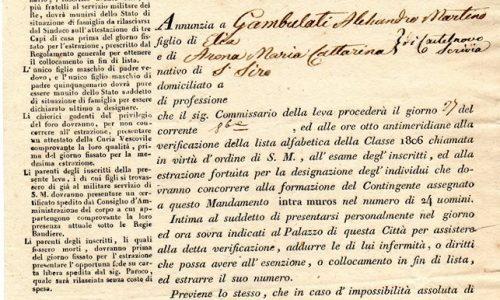 Alessandria, chiamata alla leva militare.. 1826