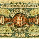 Banca Popolare di Alessandria 1870 – biglietto fiduciario da 50 centesimi