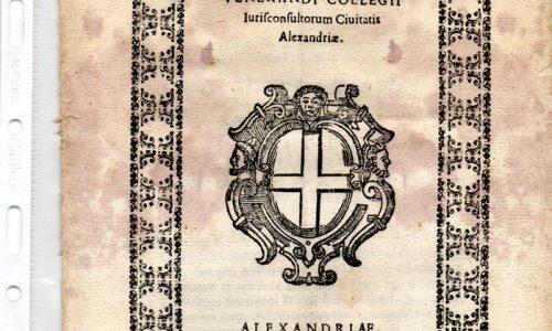 Statuto di Alessandria. 1618